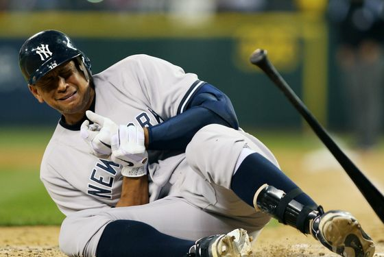 SEATTLE, WA - JULY 24:  Alex Rodriguez #13 of the New York Yankees crumples to the ground after being hit with a pitch by starting pitcher Felix Hernandez of the Seattle Mariners at Safeco Field on July 24, 2012 in Seattle, Washington. Rodriguez was removed from the game.  (Photo by Otto Greule Jr/Getty Images)