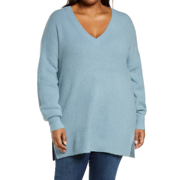 Halogen Ribbed V-Neck Tunic Sweater