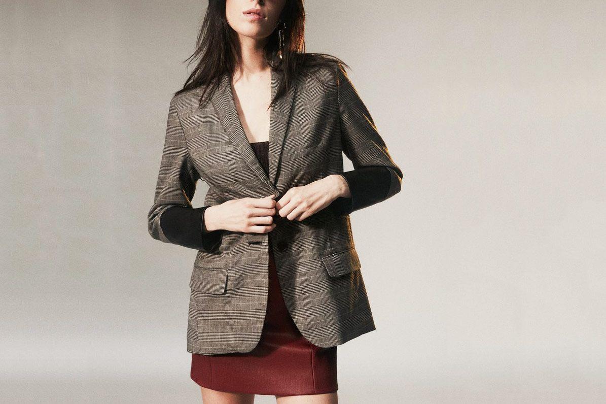 Plaid Blazer With Leather Cuff