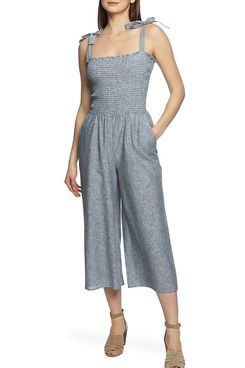 1. State Boardwalk Stripe Smocked Linen & Cotton Jumpsuit
