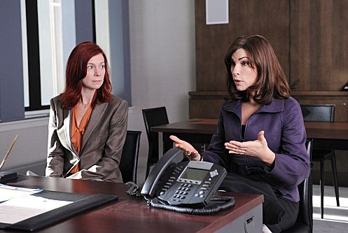 """Executive Order #13224""– When Alicia (Julianna Margulies, right) is forced to report to a government monitor regarding her new case, she hires lawyer Elsbeth Tascioni (Carrie Preston, left) to protect her own rights, on THE GOOD WIFE, Sunday, Nov. 6 (9:00-10:00 PM ET/PT) on the CBS Television Network. Photo: David M. Russell/CBS ©2011 CBS Broadcasting, Inc. All Rights Reserved"