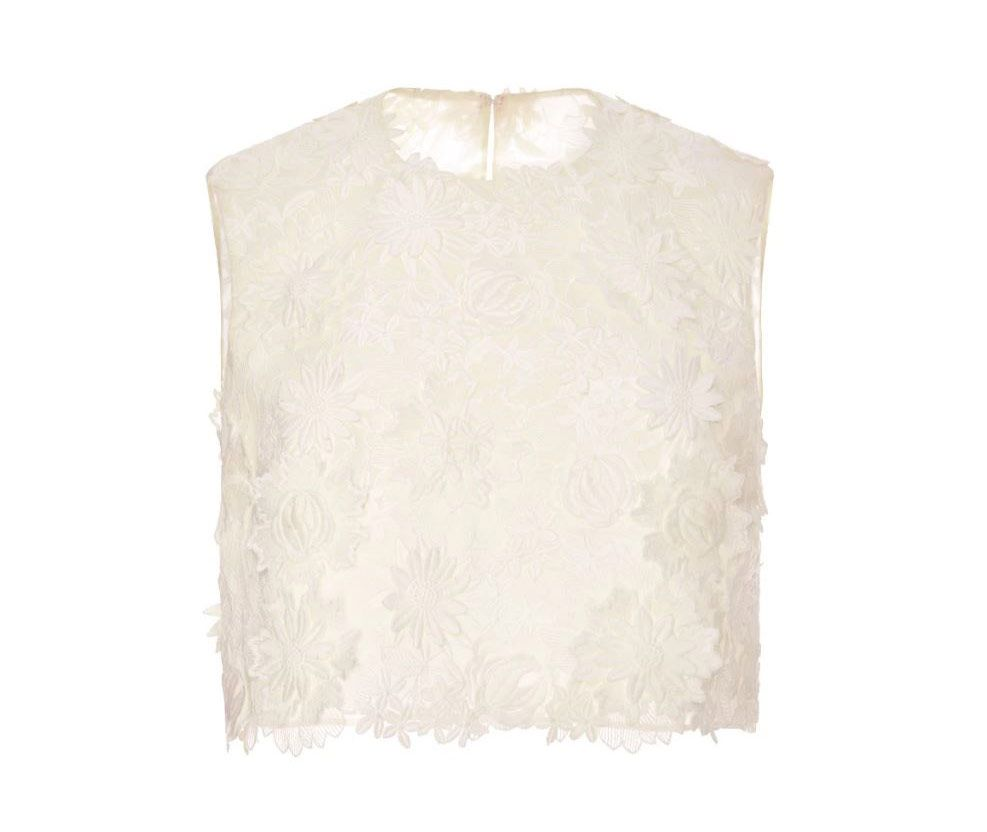 Costarellos guipure lace crop top