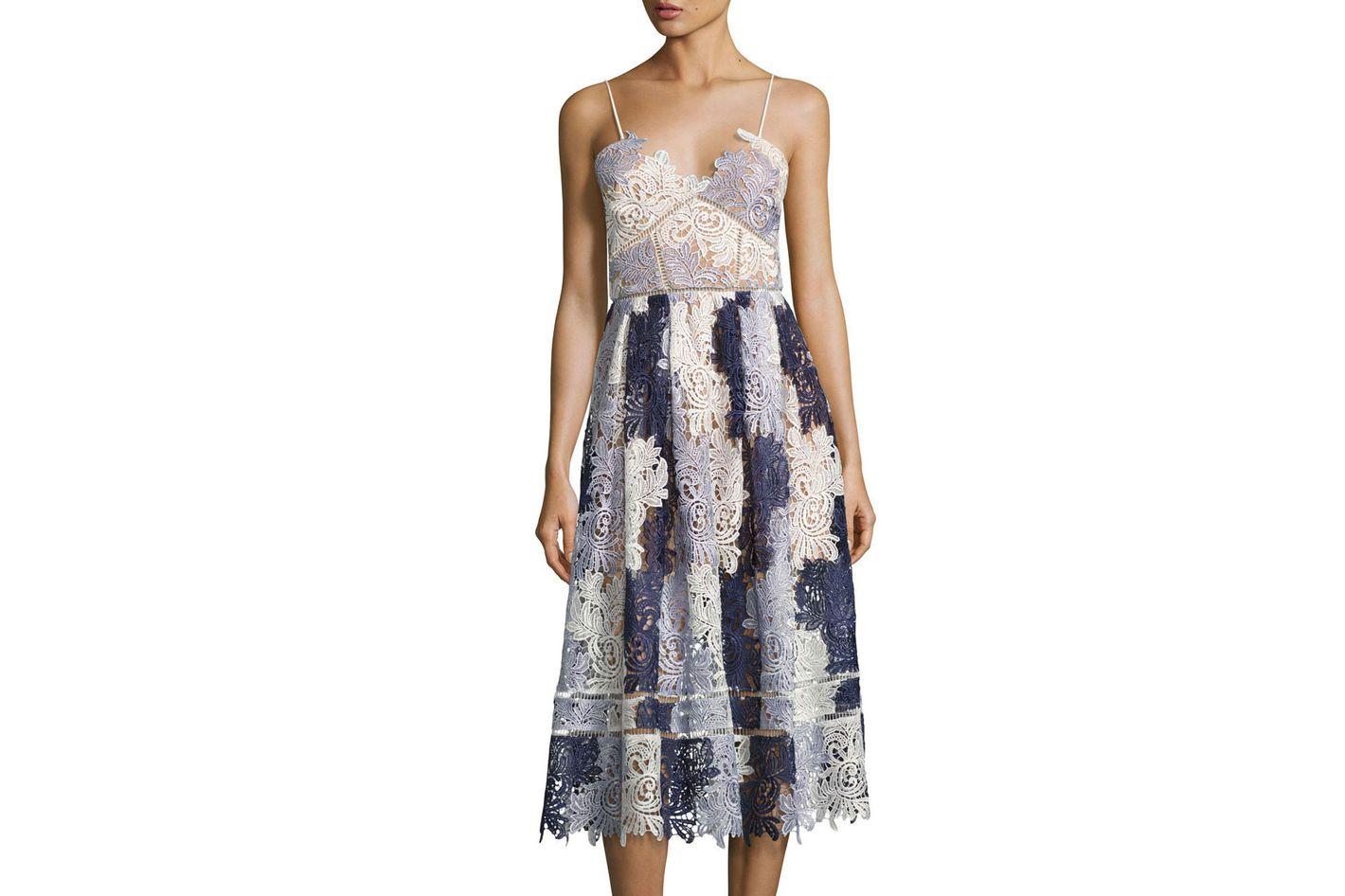Camellias Sleeveless Guipure Lace Midi Dress, Lavender Multicolor