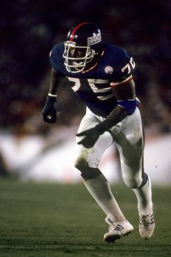 New York Giants defensive end George Martin (75) in action during the Giants 39-20 victory over the Denver Broncos in Super Bowl XXI on January 25, 1987 at the Rose Bowl in Pasadena, California.  (Photo by Al Messerschmidt/Getty Images)