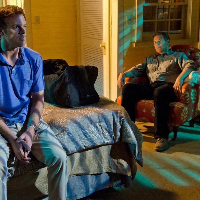 James Remar as Harry Morgan and Michael C. Hall as Dexter Morgan (Season 7, episode 2)