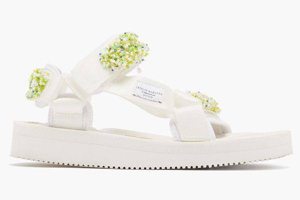 Maria beaded Velcro-strap sandals