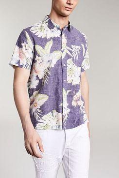 Sun + Stone Men's Luca Floral Linen Short Sleeve Shirt