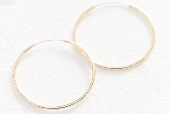 18k Gold + Sterling Silver Plated Small Hoop Earring