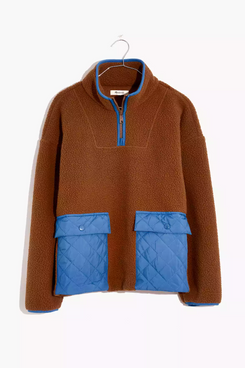 (Re)sourced Fleece Quilted-Pocket Popover Jacket