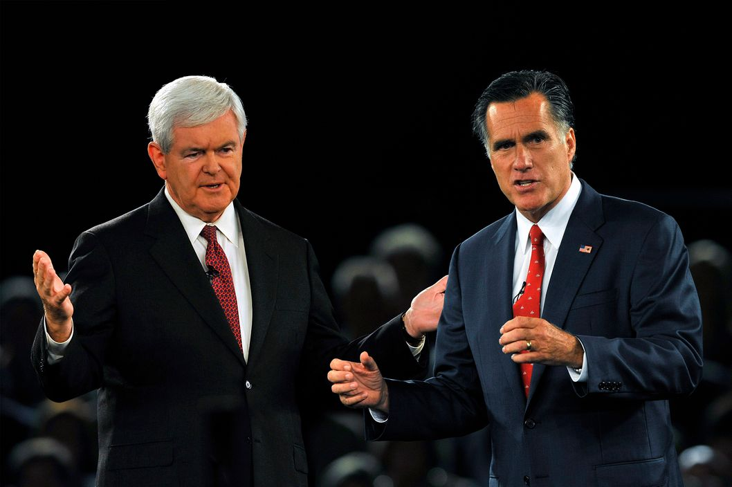 GOP Presidential candidate and former Massachusetts Governor Mitt Romney and rival candidate and former Speaker of the House Newt Gingrich during the American Principles Project Palmetto Freedom Forum, September 5, 2011 in Columbia, South Carolina.