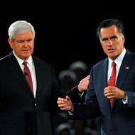 GOP Presidential candidate and former Massachusetts Governor Mitt Romney and rival candidate and former Speaker of the House Newt Gingrich during the American Principles Project Palmetto Freedom Forum, September 5, 2011