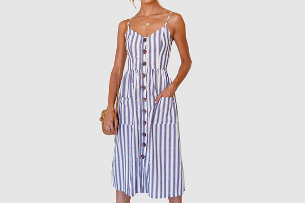 Angashion Spaghetti Strap Button Down Midi Dress