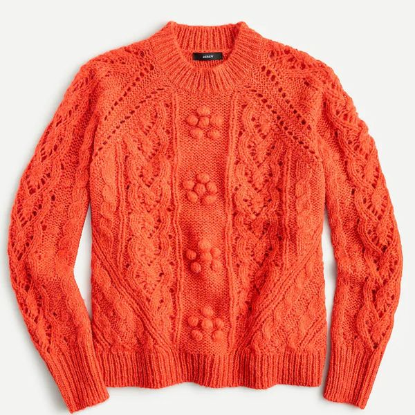 J.Crew Cable-knit Pointelle Sweater with Popcorn Flowers