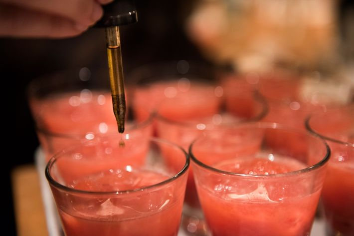 While the event was BYOB, guests were greeted with a medicated aperitif.