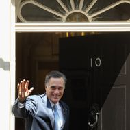 Mitt Romney, the Republican nominee for the USA presidential election, arrives in Downing Street to meet with British Prime Minister David Cameron on July 26, 2012 in London, England. Mitt Romney is meeting various leaders, past and present, on his visit to the UK including Tony Blair, Ed Miliband and Nick Clegg.