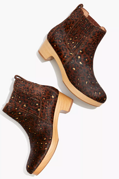 Madewell The Clog Boot in Painted Leopard Calf Hair