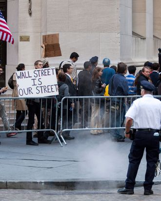 NEW YORK -- SEPTEMBER 19: People protesting the economic system flood financial district sidewalks as office workers head to work on September 19, 2011 in New York City. Organizers said the protests, which began Saturday, could last for weeks. (Photo by Michael Nagle/Getty Images)