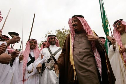 15 Jan 2008, Saudi Arabia --- FILE - In this Tuesday, Jan. 15, 2008 file photo, Saudi Prince Salman, second from right, brother of Saudi King Abdullah, participates in a traditional sword dance while waiting for US President Bush at the Al Murabba Palace and Natural History Museum in Al Janadriyah, Saudi Arabia. Saudi Arabia has named a new defense minister to replace the late crown prince who held the post. King Abdullah appointed Prince Salman bin Abdul-Aziz Al Saud minister of defense and aviation on Saturday. Prince Salman replaces Crown Prince Sultan, who died Oct. 22.