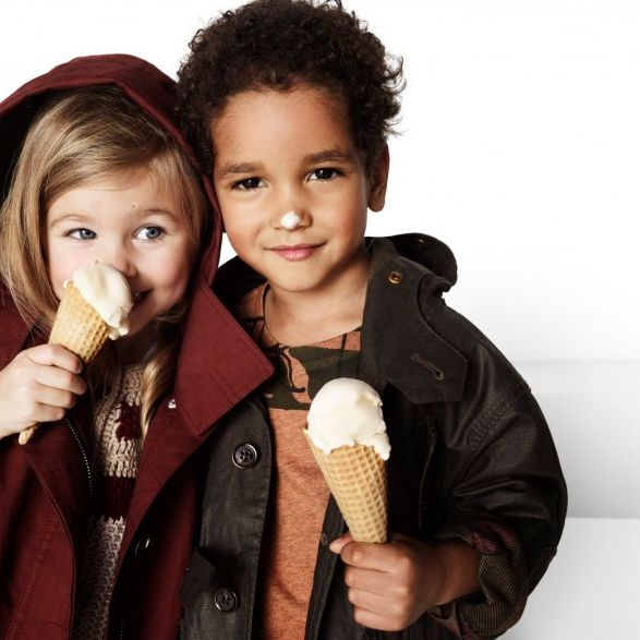 One upside to child modeling: getting paid to eat ice cream.