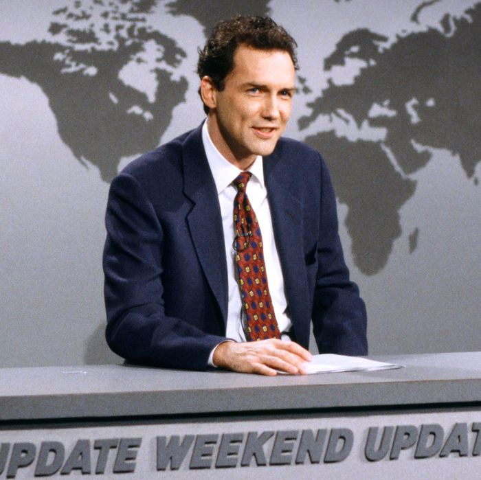 SATURDAY NIGHT LIVE -- Episode 14 -- Pictured: Norm MacDonald during the 'Weekend Update' skit on February 22, 1997 -- (Photo by: Mary Ellen Matthews/NBC/NBCU Photo Bank)