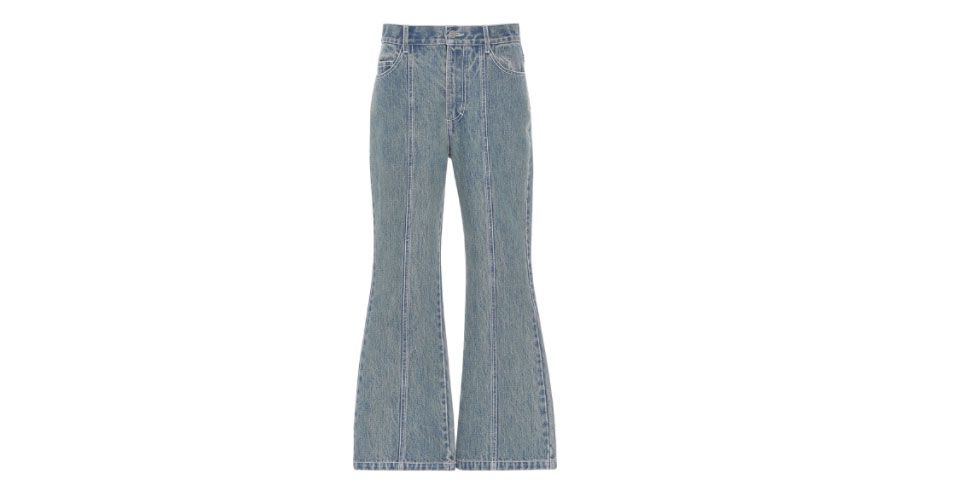 Sandy Liang Winkle Blueberry Seamed Flare Jeans