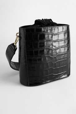 Croc Embossed Leather Bucket Bag