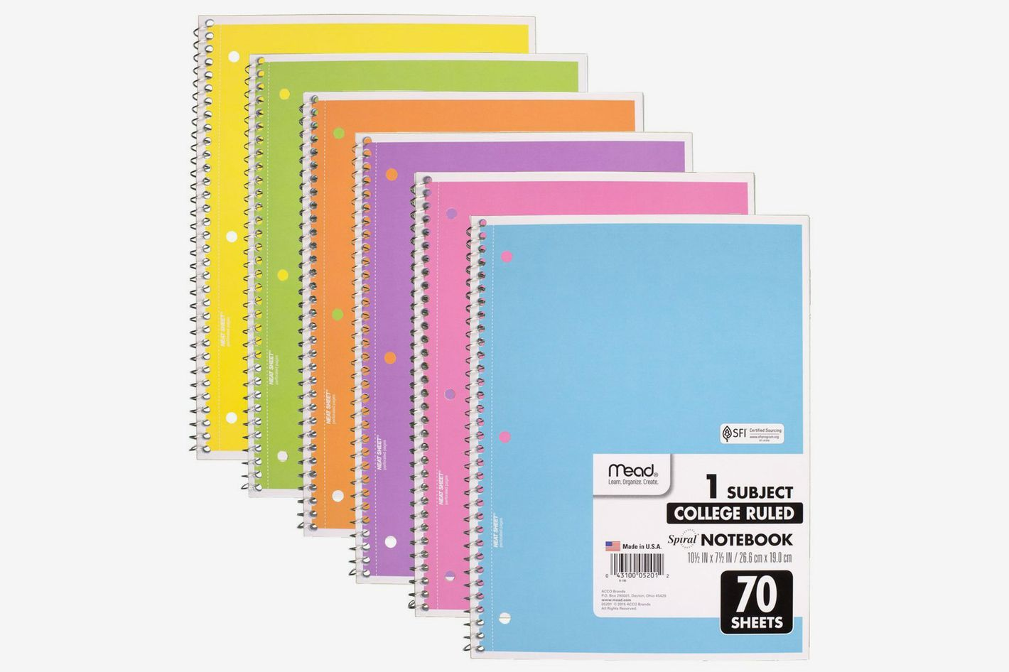 Mead Spiral Notebook 1-Subject College Ruled, Pastel Color (Pack of 6)
