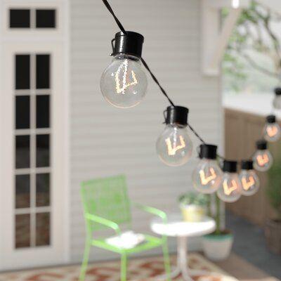 Lavoir 20-Foot Outdoor LED Solar-Powered 10-Bulb Globe String Lights