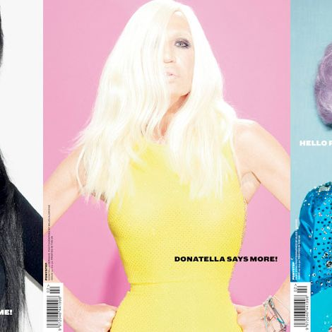 <em>Ponystep</em>'s three fall covers, starring Elvira, Donatella Versace, and Dame Edna.