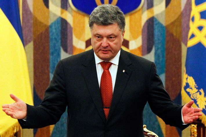 Ukrainian President  Petro Poroshenko speaks during a meeting of the National Security and Defence Council of Ukraine in Kiev, Ukraine, Tuesday, Nov. 4, 2014.