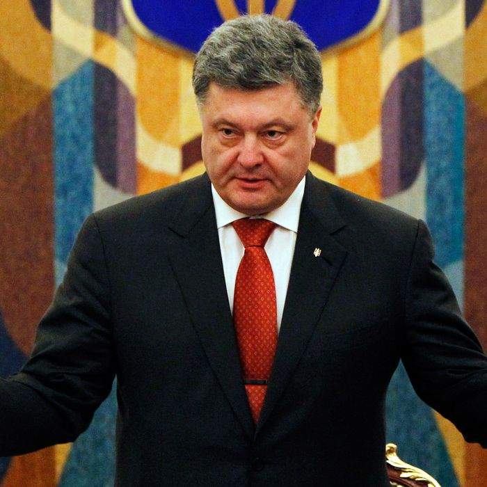 Ukrainian President Petro Poroshenko speaks during a meeting of the National Security and Defence Council of Ukraine in Kiev, Ukraine, Tuesday, Nov. 4, 2014.