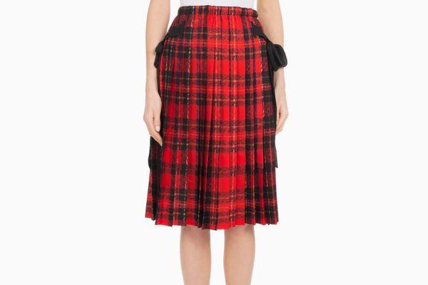 Simone Rocha Pleated Plaid Knee-Length Skirt w/ Bow Details
