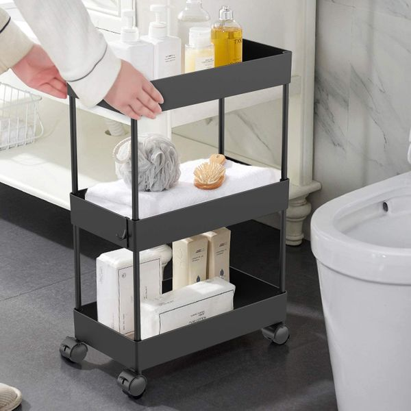 AOJIA Slim 3-Tier Bathroom Storage Cart