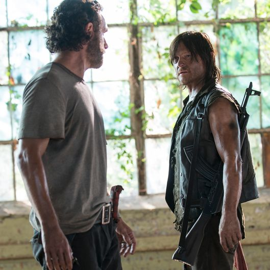 Andrew Lincoln as Rick Grimes and Norman Reedus as Daryl Dixon - The Walking Dead _ Season 5, Episode 8 - Photo Credit: Gene Page/AMC