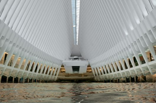 A view inside the Oculus PATH train station at the World Trade Center in Lower Manhattan, New York City.