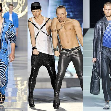 From left: new menswear looks from Versace, DSquared2, and Giorgio Armani.