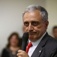 Republican gubernatorial candidate Carl Paladino speaks to his supporters at American Defense Systems, October 26, 2010, in Hicksville, NY. Republican and Tea Party favorite, Carl Paladino is campaigning for the top seat in Albany against his opponent, Democrat Andrew Cuomo.