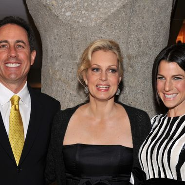 "(L-R) Jerry Seinfeld, Ali Wentworth and Jessica Seinfeld attend Ali Wentworth's ""Ali In Wonderland: And Other Tall Tales"" book launch at Sotheby's on February 6, 2012 in New York City."