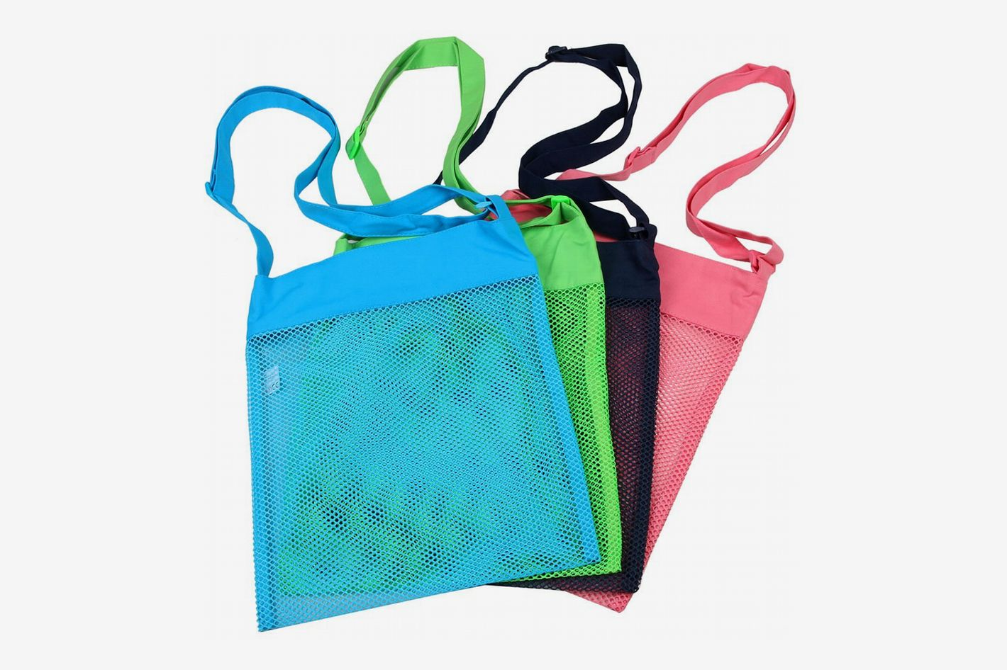 Colorful Mesh Sea Shell Bags with Adjustable Carrying Straps (4 PC Set)
