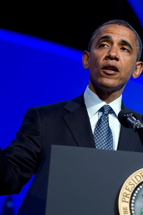 U.S. President Barack Obama speaks at the Associated Press luncheon during the American Society of News Editors (ASNE) Convention at the Washington Marriott Wardman Park Hotel April 3, 2012in Washington, D.C.  Obama criticized the Republican budget proposal during his remarks.