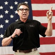 Texas Gov. Rick Perry campaigns for U.S. Senate Republican candidate and North Carolina House Speaker Thom Tillis at the Conservative Rally, North Carolina's largest annual political rally, October 24, 2014 in Smithfield, North Carolina. Tillis is locked in a tight race with Sen. Kay Hagan (D-NC) with less than two weeks until the midterm elections.