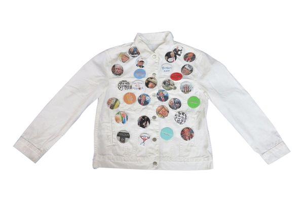 Rob Pruitt's Flea Market: Anti Trump PinBack White Denim Jacket #1