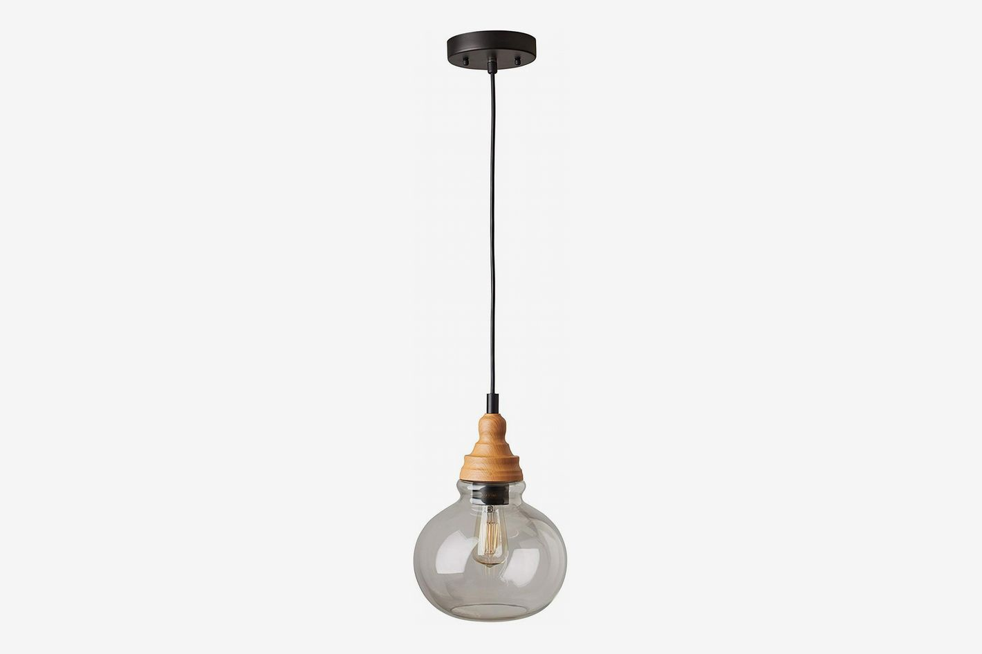 Rivet Glass Pendant With Bulb, Brown and Black