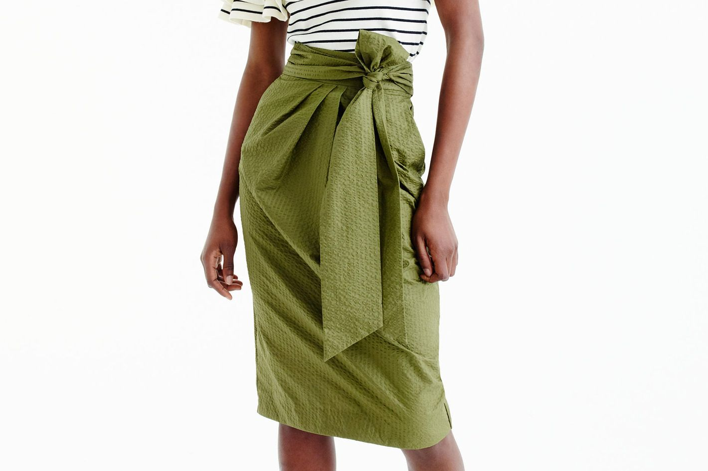 J.Crew Tie-Waist Skirt in Dyed Seersucker