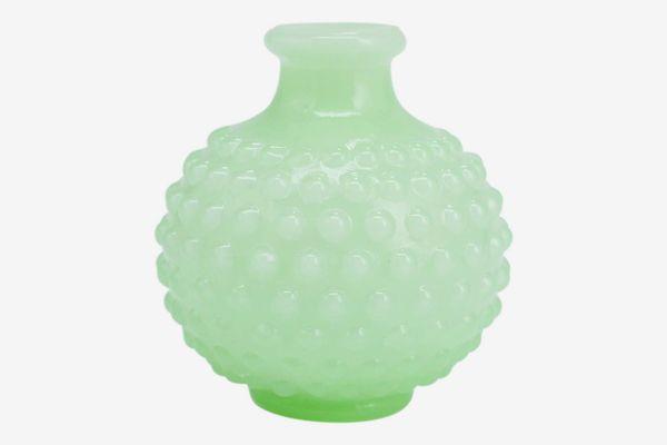 J.C. and Rollie Mini Mint Milk Glass Turnip Vase