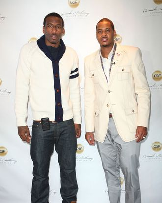 Amar'e Stoudemire and Carmelo Anthony pose at 'A Very Melo Brunch' on February 20, 2011 in West Hollywood, California.