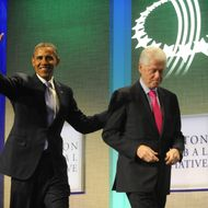 NEW YORK, NY - SEPTEMBER 21: U.S. President Barack Obama and former President Bill Clinton attend the Clinton Global Initiative at the Sheraton New York Hotel and Towers September 21, 2011 in New York City. The three-day forum brings together world leaders and other dignitaries to discuss worldwide problems and potential solutions. (Photo by Aaron Showalter-Pool/Getty Images)