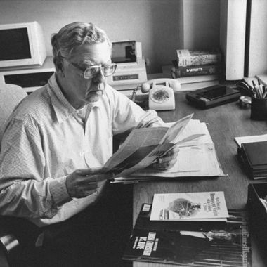 Author Ralph Graves sitting at desk at his office, going over some of the research material he used for his recently published bk., ORION: THE STORY OF A RAPE, a fictionalization of his daughter Sara's rape.  (Photo by Marianne Barcellona//Time Life Pictures/Getty Images)
