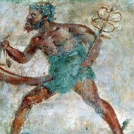 Mural of Mercury, Pompeii, Italy. Erotic portrait of a figure with an erection.