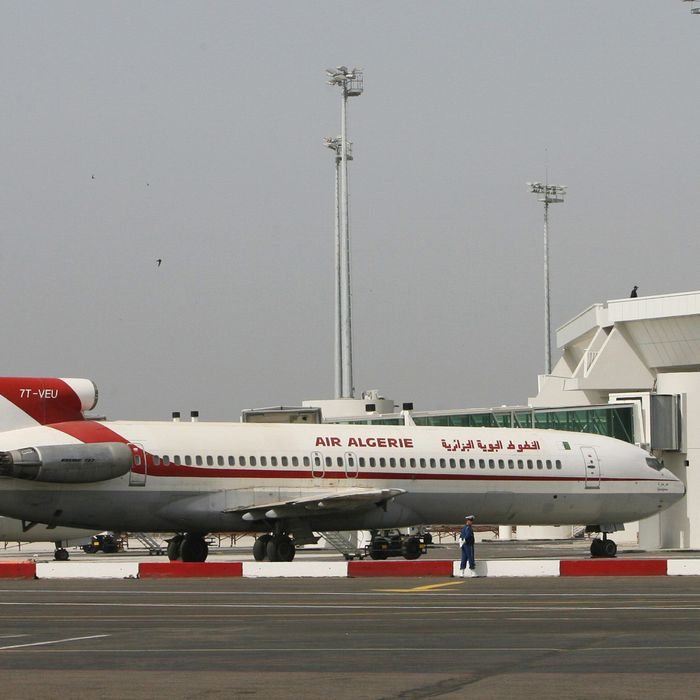 A picture taken 16 May 2006 shows Air Algerie planes in front of the new Inernational Algiers Houari Boumediene airport building, as the new airport is expected to open in June. AFP / FAYEZ NURELDINE (Photo credit should read FAYEZ NURELDINE/AFP/Getty Images)